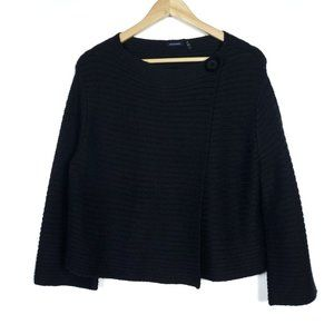 Magaschoni Black Alpaca Merino Wool Knit Sweater